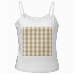 Christmas Gold Large Gingham Check Plaid Pattern White Spaghetti Tank by PodArtist