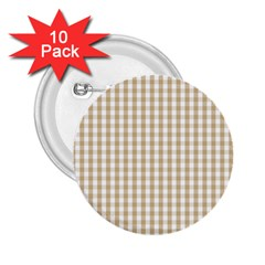 Christmas Gold Large Gingham Check Plaid Pattern 2 25  Buttons (10 Pack)  by PodArtist