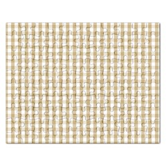 Christmas Gold Large Gingham Check Plaid Pattern Rectangular Jigsaw Puzzl by PodArtist