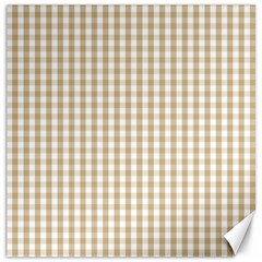 Christmas Gold Large Gingham Check Plaid Pattern Canvas 12  X 12   by PodArtist