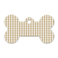 Christmas Gold Large Gingham Check Plaid Pattern Dog Tag Bone (two Sides) by PodArtist