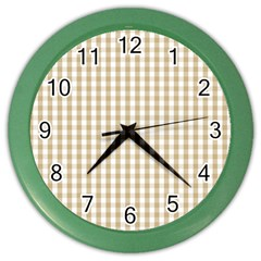 Christmas Gold Large Gingham Check Plaid Pattern Color Wall Clocks by PodArtist