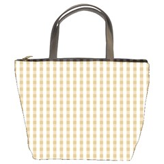 Christmas Gold Large Gingham Check Plaid Pattern Bucket Bags by PodArtist