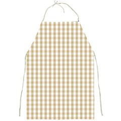Christmas Gold Large Gingham Check Plaid Pattern Full Print Aprons by PodArtist