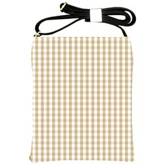Christmas Gold Large Gingham Check Plaid Pattern Shoulder Sling Bags by PodArtist