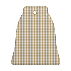 Christmas Gold Large Gingham Check Plaid Pattern Ornament (bell) by PodArtist