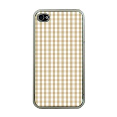 Christmas Gold Large Gingham Check Plaid Pattern Apple Iphone 4 Case (clear) by PodArtist