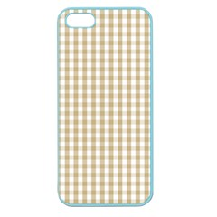Christmas Gold Large Gingham Check Plaid Pattern Apple Seamless Iphone 5 Case (color) by PodArtist