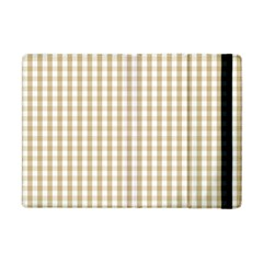 Christmas Gold Large Gingham Check Plaid Pattern Apple Ipad Mini Flip Case by PodArtist