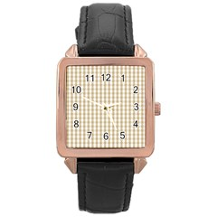 Christmas Gold Large Gingham Check Plaid Pattern Rose Gold Leather Watch  by PodArtist