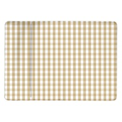 Christmas Gold Large Gingham Check Plaid Pattern Samsung Galaxy Tab 10 1  P7500 Flip Case by PodArtist