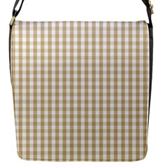 Christmas Gold Large Gingham Check Plaid Pattern Flap Messenger Bag (s)