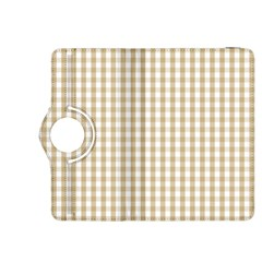 Christmas Gold Large Gingham Check Plaid Pattern Kindle Fire Hdx 8 9  Flip 360 Case by PodArtist