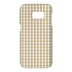 Christmas Gold Large Gingham Check Plaid Pattern Samsung Galaxy S7 Hardshell Case  by PodArtist