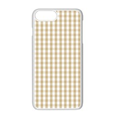 Christmas Gold Large Gingham Check Plaid Pattern Apple Iphone 7 Plus White Seamless Case by PodArtist