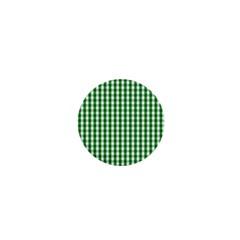Christmas Green Velvet Large Gingham Check Plaid Pattern 1  Mini Buttons by PodArtist