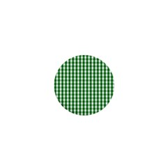 Christmas Green Velvet Large Gingham Check Plaid Pattern 1  Mini Magnets by PodArtist