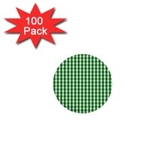 Christmas Green Velvet Large Gingham Check Plaid Pattern 1  Mini Buttons (100 Pack)  by PodArtist