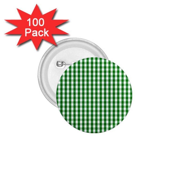 Christmas Green Velvet Large Gingham Check Plaid Pattern 1.75  Buttons (100 pack)