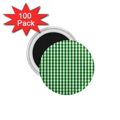 Christmas Green Velvet Large Gingham Check Plaid Pattern 1 75  Magnets (100 Pack)  by PodArtist