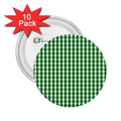 Christmas Green Velvet Large Gingham Check Plaid Pattern 2 25  Buttons (10 Pack)  by PodArtist