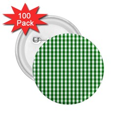 Christmas Green Velvet Large Gingham Check Plaid Pattern 2 25  Buttons (100 Pack)  by PodArtist
