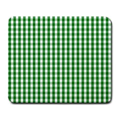 Christmas Green Velvet Large Gingham Check Plaid Pattern Large Mousepads