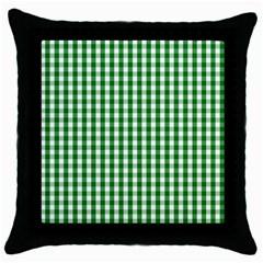 Christmas Green Velvet Large Gingham Check Plaid Pattern Throw Pillow Case (black) by PodArtist