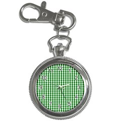 Christmas Green Velvet Large Gingham Check Plaid Pattern Key Chain Watches by PodArtist