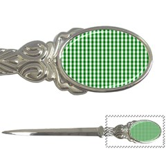 Christmas Green Velvet Large Gingham Check Plaid Pattern Letter Openers by PodArtist