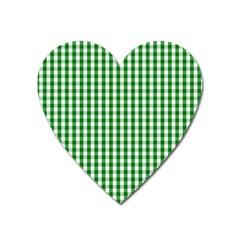 Christmas Green Velvet Large Gingham Check Plaid Pattern Heart Magnet by PodArtist
