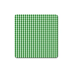 Christmas Green Velvet Large Gingham Check Plaid Pattern Square Magnet by PodArtist