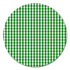 Christmas Green Velvet Large Gingham Check Plaid Pattern Magnet 5  (round) by PodArtist