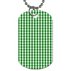 Christmas Green Velvet Large Gingham Check Plaid Pattern Dog Tag (one Side) by PodArtist
