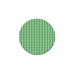 Christmas Green Velvet Large Gingham Check Plaid Pattern Golf Ball Marker (4 Pack) by PodArtist