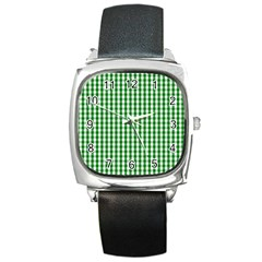 Christmas Green Velvet Large Gingham Check Plaid Pattern Square Metal Watch by PodArtist