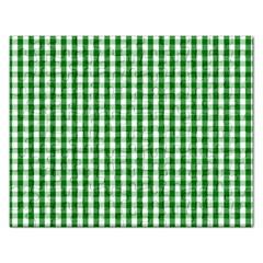 Christmas Green Velvet Large Gingham Check Plaid Pattern Rectangular Jigsaw Puzzl by PodArtist
