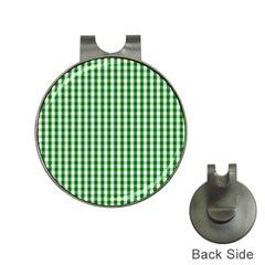 Christmas Green Velvet Large Gingham Check Plaid Pattern Hat Clips With Golf Markers by PodArtist