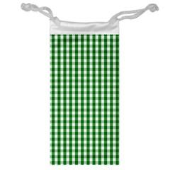 Christmas Green Velvet Large Gingham Check Plaid Pattern Jewelry Bag by PodArtist