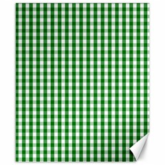Christmas Green Velvet Large Gingham Check Plaid Pattern Canvas 8  X 10  by PodArtist