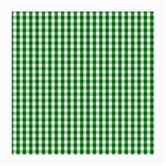 Christmas Green Velvet Large Gingham Check Plaid Pattern Medium Glasses Cloth by PodArtist