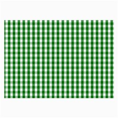 Christmas Green Velvet Large Gingham Check Plaid Pattern Large Glasses Cloth by PodArtist