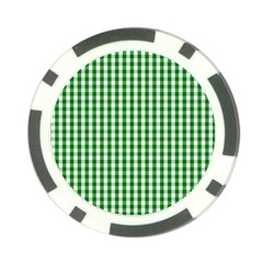 Christmas Green Velvet Large Gingham Check Plaid Pattern Poker Chip Card Guard by PodArtist