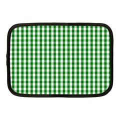 Christmas Green Velvet Large Gingham Check Plaid Pattern Netbook Case (medium)  by PodArtist