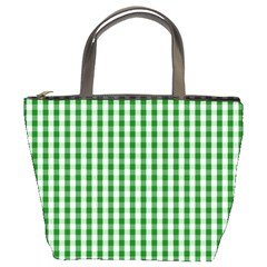 Christmas Green Velvet Large Gingham Check Plaid Pattern Bucket Bags by PodArtist