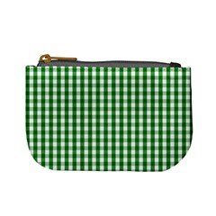 Christmas Green Velvet Large Gingham Check Plaid Pattern Mini Coin Purses by PodArtist