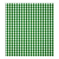 Christmas Green Velvet Large Gingham Check Plaid Pattern Shower Curtain 66  X 72  (large)  by PodArtist