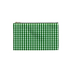 Christmas Green Velvet Large Gingham Check Plaid Pattern Cosmetic Bag (small)  by PodArtist