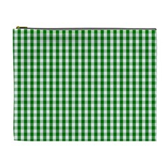 Christmas Green Velvet Large Gingham Check Plaid Pattern Cosmetic Bag (xl) by PodArtist