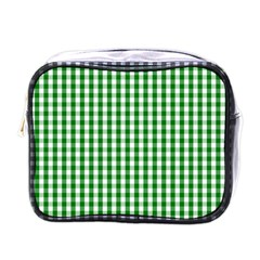 Christmas Green Velvet Large Gingham Check Plaid Pattern Mini Toiletries Bags by PodArtist